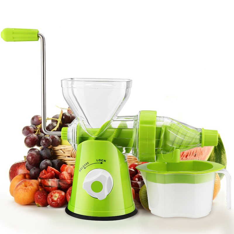 Plastic Manual Hand Single Auger Fruits Press Juicer with Suction Base