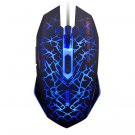 Human Ergonomic 6 Keys 2400DPI Optical Lighting Wired Gaming Mouse for Home Office Blue