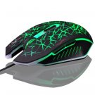Human Ergonomic 6 Keys 2400DPI Optical Lighting Wired Gaming Mouse for Home Office Green