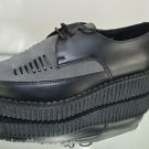 "Creeper 721 Black Leather Grey Suede 1"" Platform Goth Shoes Men's 6 Woman's 8"