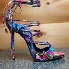 So Me Mista Demon Strappy Lace Up High Heel Shoe 6.5-11 Neon Rainbow Snake