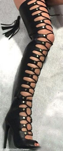"""Nelly Maneater Black Open Adjustable Lace Up Thigh High Boot 4"""" Heel 6-11"""