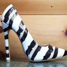 RK White Black Silver Snake Stripped Pointy Toe Pump Shoe