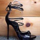 So Me Mista Demon Strappy Lace Up High Heel Shoe 5.5-10 Black Snake Patent