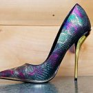"Luichiny Mind Blowing Multi Green Textured Snake Pointy Toe Pump Shoe 4.5"" Heel"