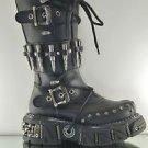 Demonia DMA 3002 Black Bullet Straps Studs Zipper Lace Up Goth Punk Biker Boots