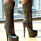 "Zigi NY's London Trash Crucify Black Leather Gold Snake Boot 7"" Heel Sz 7 & 7.5"