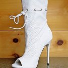 Mona Mia Alectrona Open Toe Preforated Drawstring Mid Calf Boot 6-10 White