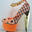 Privileged Twee Neon Orange Chain Strap Sculpted Heel Platform Shoe 7.5 & 8.5