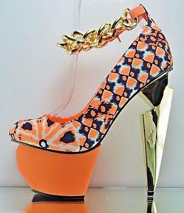 Privileged Twee Neon Orange Chain Strap Sculpted Heel Platform Shoe 7.5 & 8.5
