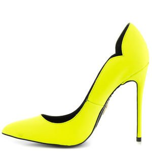 Lust for Life Kash Neon Yellow Citron Leather Pointy Toe Pump Shoe 7-11