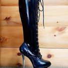 Blondie 2021 Black Patent Silver Cut Out Dual Platform Lace Up Knee Boot Size 8