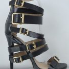 """Zigi NY Iconic Black Leather Multiple Buckle Straps 5"""" Stiletto Sandal Shoe 7-11"""