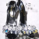 "Privileged Golden Open Toe Cluster Crystal Jeweled Toe Strap 5"" Heel Shoe Black"
