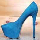 "Luichiny Me Chelle Emerald Green Fabric Platform Pump 6"" Heel Sizes 7-11"