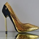 Privileged Trail Black Gold Stud Trend Setting Pump High Heel Shoe 6-10