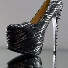 Cape Robbin Laney Black Chrome Foil Spiked Heel Platform Shoe Pump  6 - 10