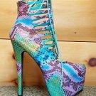 Privileged Denmark Teal Multi Color Snake Corset Ankle Boot High Heel Shoe