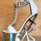 Privileged Picasso White T Strap Gold Chained Geo Cut Out Heel Wedge 5.5 - 7