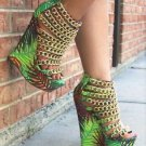 "Caked Up Tropical Palms Multiple Chain Strapped Vamp Platform Wedge Shoe 6"" Heel"