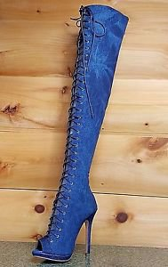 Liliana Mineral Wash Denim Open Toe Lace Up Front Thigh High/Over the Knee Boot