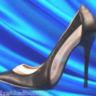 "Athena Amy Black White Mesh Panel Single Sole Pump Shoe 4.5"" Heel 6-10"