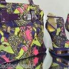Mona Mia Aymor Purple Satin  Multi Color Heel Less Wedge Shoe Matching Purse