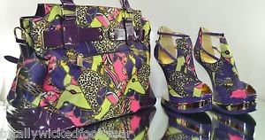Mona Mia Aymor Purple Satin  Multi Color Heel Less Wedge Shoe Matching Purse