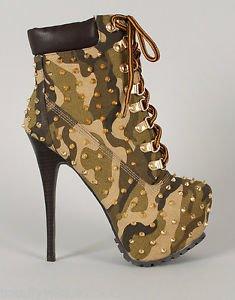 ALBA Jennifer Studded Camo Platform Sexy Work Style High Heel Ankle Boot 6-10