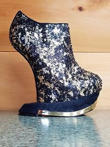 Privileged Terina Gold & Black Heel Less Wedge Sequin Bootie Platform Shoe