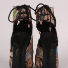 So Me Jessa Black Multi-Color Open Toe / Heel Sling Back Shoe Bootie 6.5-11