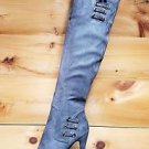 "Luichiny May La Gray Snake Platform Over The Knee 5"" Stiletto Heel Boot"