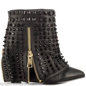 Lust for Life Battle Quality Black Leather Studded Slip On Ankle Boot 7-12