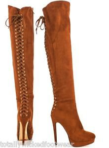 "Luichiny Ladies Nite Whisky Platform Designer Lace Up Back Thigh Boot 5"" Heel"