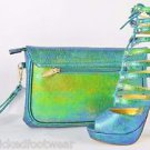 Mona Mia Iridescent Green Strapy Front High Heel Shoe & Matching Clutch Size 11