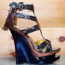 Mona Mia Corquis Black Gold Snake Skin Tassel Wedge Platform Shoe Sizes 7 & 9