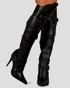 "Wild Rose Black Leatherette Knee Shield  4"" Heel Pointy Toe Boot 6-10"