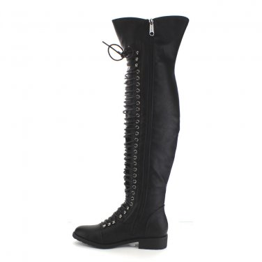 Mark & Maddux Black Corset Lace Over the Knee Pirate Boot Travis 6 & 6.5