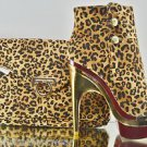 Mona Mia Leandra Leopard Gold / Red Contoured Heel Ankle Boot Matching Clutch