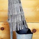 "Bejeweled 1024 Silver Fringe 7"" Heel Rhinestone Platform Black Ankle Boot 5 6 10"