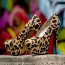 """Luichiny Me Chelle Leopard Fabric Platform Pump 6"""" Heel Shoe Sizes 7-11"""