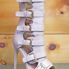 Nelly Lola Nude Open Toe 5 Buckle 4.75 Heel Ankle Boot Sizes 5.5 - 9