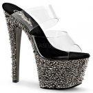 "Bejeweled 702 SP Pewter Rhinestone & Spike Platform 2 Band Shoe 7"" Heel Size 10"
