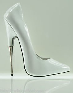 """Devious Scream 6"""" Metal Heel Dramatic Arch Pointy Toe Pump 6-14 Ballet White Red"""