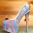 Alba Yang 25 Nude Multi Color Rhinestone Platform Pump 7- 11 Shoe