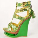Mona Mia Corquis Snake Skin Textured Strappy Tassel Wedge Shoe 5-10 Green Gold