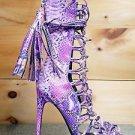 Nelly Paris Purple Multi Snake Open Toe Lace Up 4.75 Heel Ankle Boot 6.5 -12