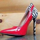 """Alba Ricky Red Patent Zebra Pointy Toe Pump Shoe 4.5"""" Stiletto Heel Sizes  7-10"""