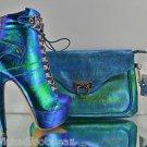 Mona Mia Venisha Iridescent Green Banana Heel Ankle Boot & Matching Clutch Purse