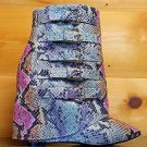 "Nelly High Life Multi Color Snake Fold-over Ankle Boot 4"" Wedge Heel Shoe 6-11"